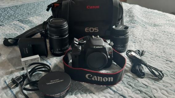 Camera Canon Eos Rebel T3i + Lente 18-55mm +lente 55-250mm