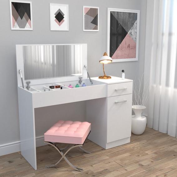 Mesa Penteadeira Camarim Com Espelho Milla Branco Brilho