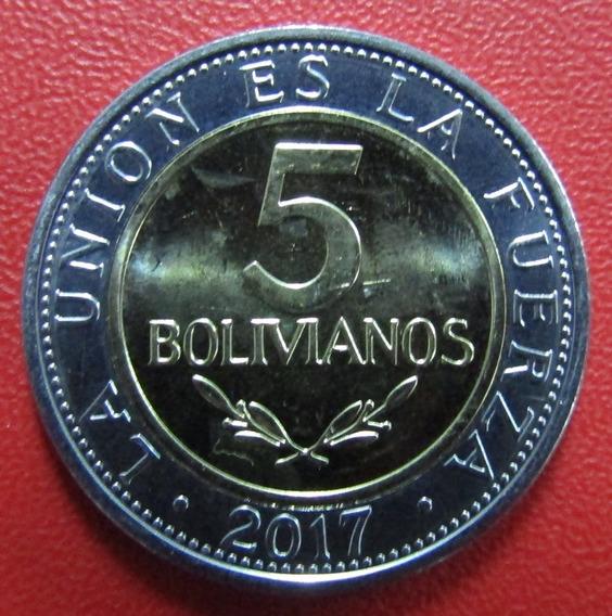 Bolivia Moneda Bimetalica 5 Bolivianos 2017 Unc Km New