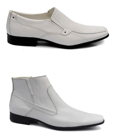 Kit 2 Pares Sapato Bota Branco Social Masculino Em Couro