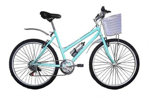 Bicicleta Todo Aluminio Cuadro Acero Canasta 18 Velocidades
