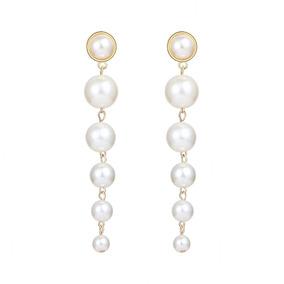 8bbe1b2c4a95 Moda Simple Grande Pequeño Perla Colgante Pendientes Mujeres