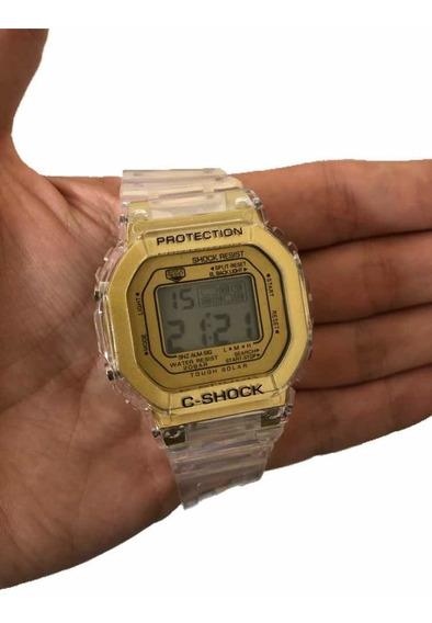 Relógio Masculino Digital Transparente Com Luz E Alarme