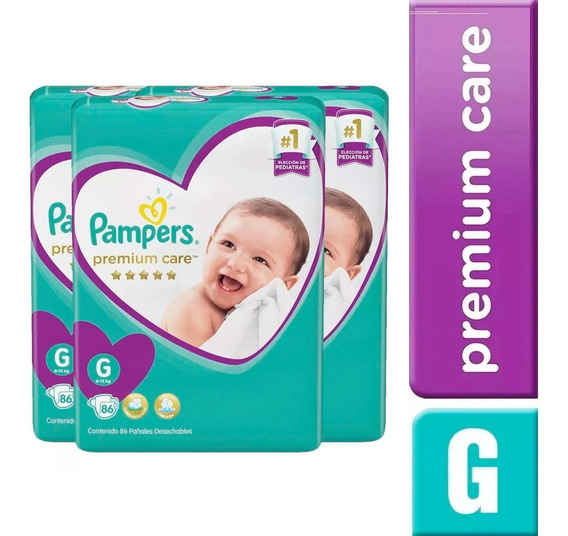 3 Paquetes Pañales Pampers Premium Care 216 Unidades Talla G