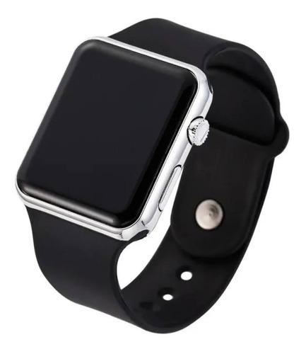 Vendo Relógio Digital Led Preto E Prata, Novo