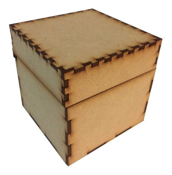 Caja Mdf 10 X 10 X 10 Baul Cuadrado Recuerdito Alhajero Cubo