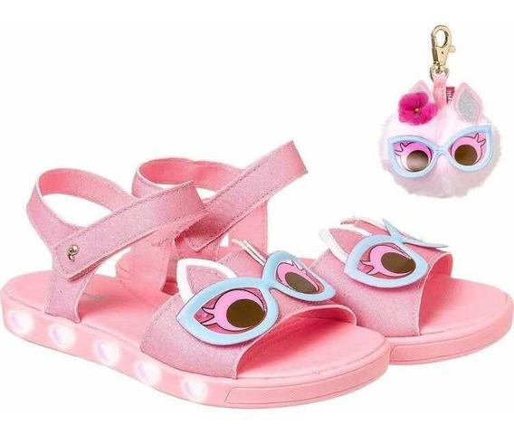 Sandália Infantil Pampili Papete Com Luz Rosa Chiclete Dot