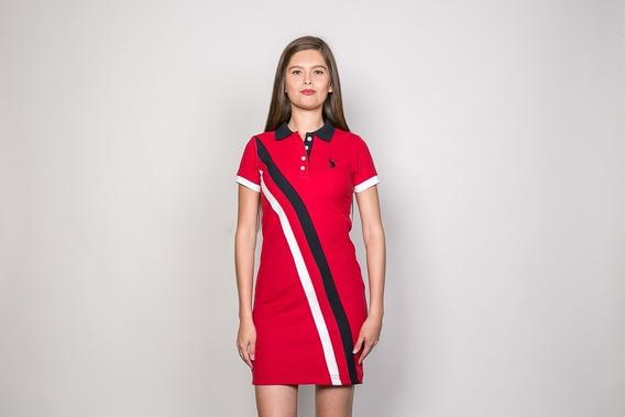 Vestido Tipo Polo Amsterdam Twc Rojo Con Franjas