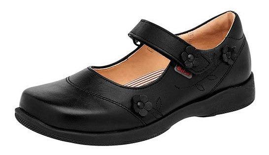 Zapato Escolar Elefante Negro Piel Dama Correa C83698 Udt