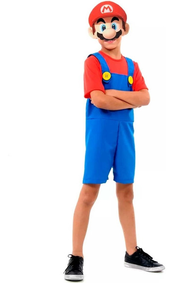 Roupa Super Mario Bros Infantil Curta C/ Mascara 3 A 12 Anos