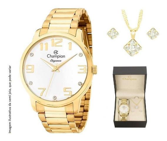 Relógio Champion Feminino Dourado Cn26028w Kit Colar Brincos