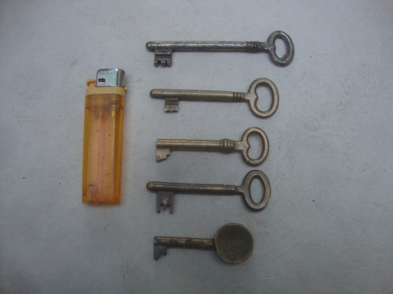 Lote De 5 Antiguas Llaves Bronce Puerta Mueble