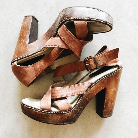 Zapatos Con Taco, Cuero Y Madera Febo