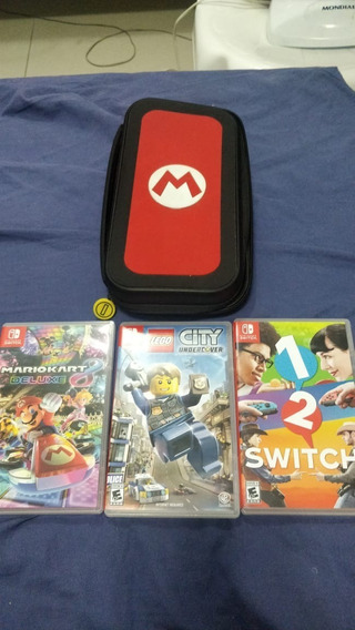 Kit Jogos Nintendo Switch + Case Mario