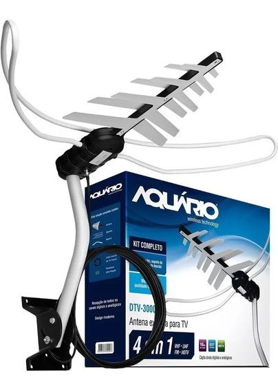 Antena Externa Dtv-3000 Uhf,hdtv,vhf,fm Aquario Completa Nf