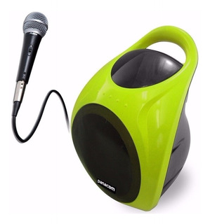 Parlantes Bluetooth Panacom Sp-3050 Usb Verde Dacar Hogar Con Luces Sd Radio Fm Batería Larga Duración