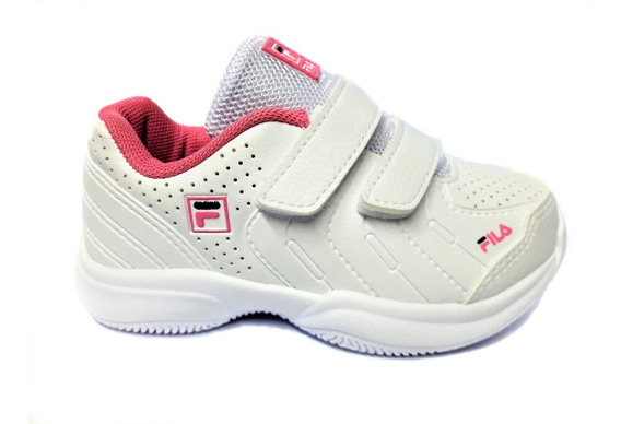 Zapatillas Fila Lugano 5.0 Velcro Baby Bco/rsa