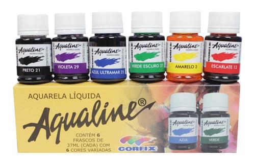 2x Aqualine Aquarela Líquida Aerografia Cj 6 Cores Corfix