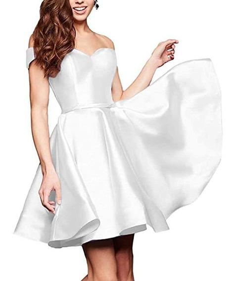 Vestido De Fiesta Blanco De Raso (importado De Usa) Nuevo