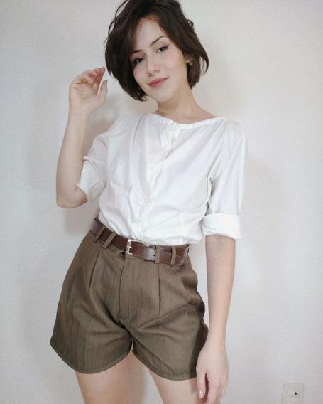 Shorts Vintage Social Caqui Cintura Alta
