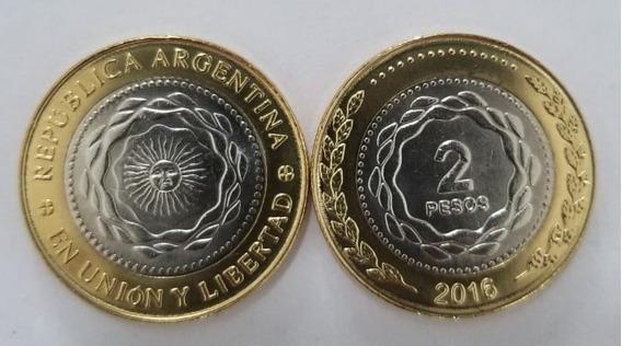 Moneda Argentina 2 Pesos 2016 - Sin Circular - Lote 10 Unid.