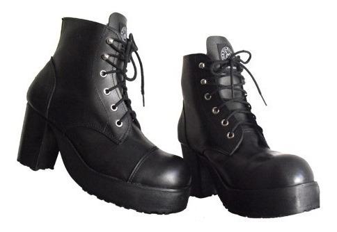 Coturno Vilela Boots Feminino - 100% Couro Cano Baixo Salto