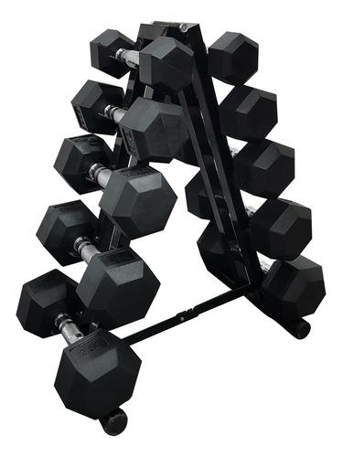 Soporte + 10 Mancuernas Hexagonales - Pesas Gimnasio Hogar