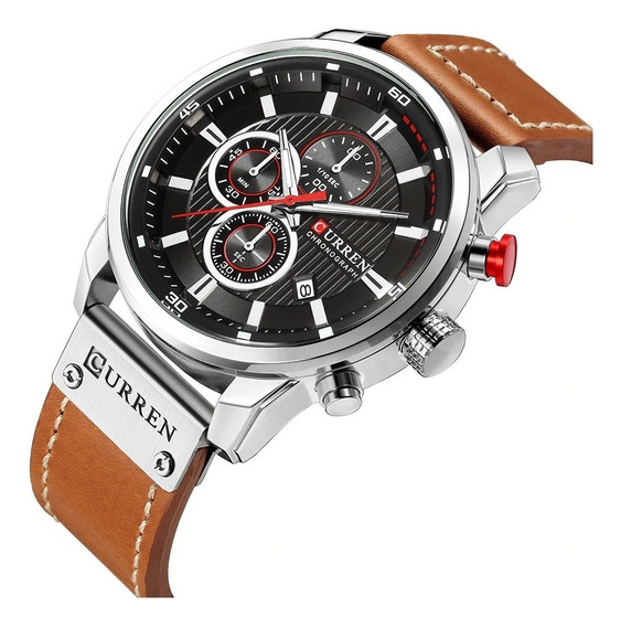 Relógio Curren 8291 Funcional Couro Cronógrafo Luxo Prata