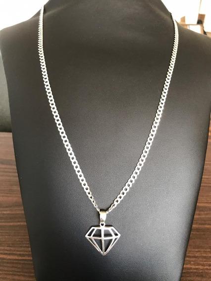 Corrente Escama Com Pingente Diamante Prata 925