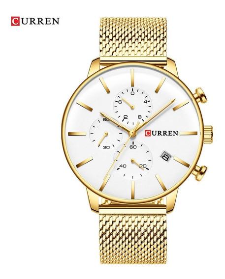 Relógio De Quartzo Curren 8339 Ouro