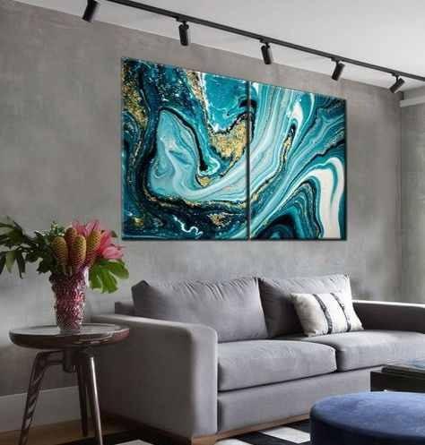 Quadro Decorativo Mármore Ônix Azul Abstrato Melhor Preço