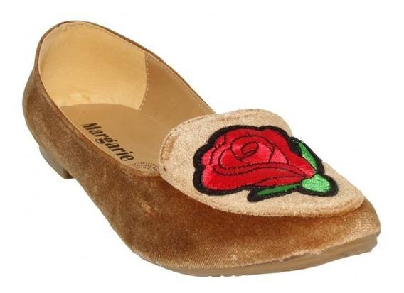 Flats Flores Marca Margarie Gamuza Oro 3354