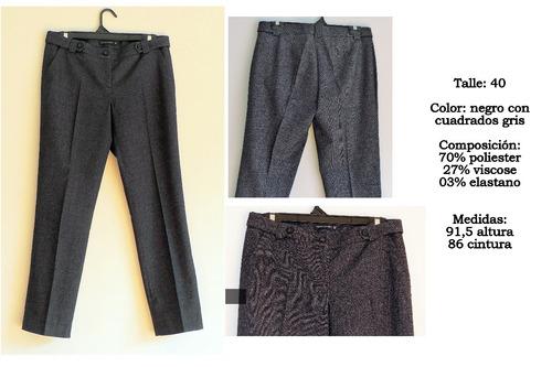 Pantalon De Vestir Mujer Gris Y Negro 70000
