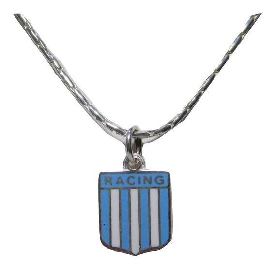 Conjunto Plata Y Oro Escudo Clubes Fútbol Esmaltado Y Cadena