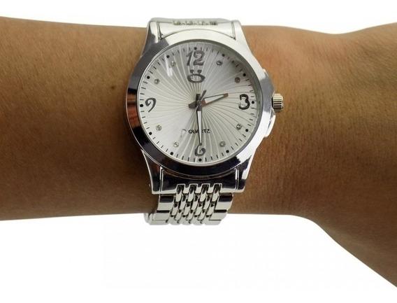 Relógio Feminino Prata Original + Colar E Brincos + Garantia