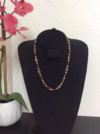 Collar De Oro Mujer Con Coral Rosa