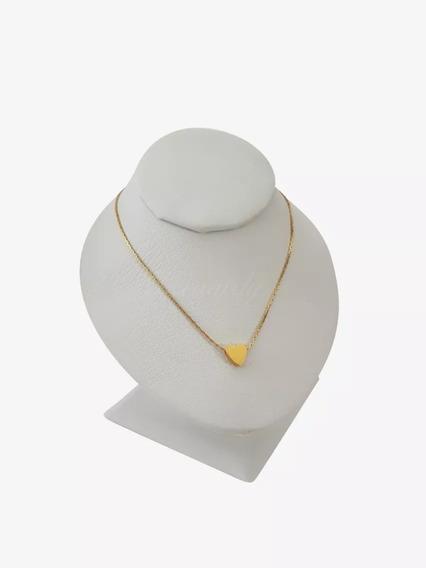 Collar Corazón Chapa De Oro 18k