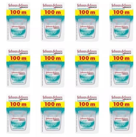 Kit 12 Fio Dental Johnsons Reach Essencial Menta 100 Metros