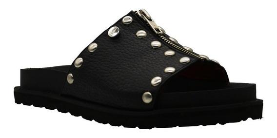 Zapatos Sandalias Bajas Cuero Mujer Negro Urbanas Leblu 882
