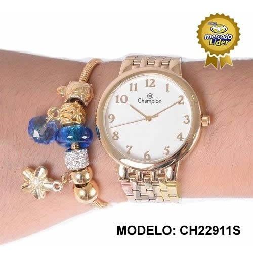 Relógio Champion Feminino Ch22911s Dourado + Berloques