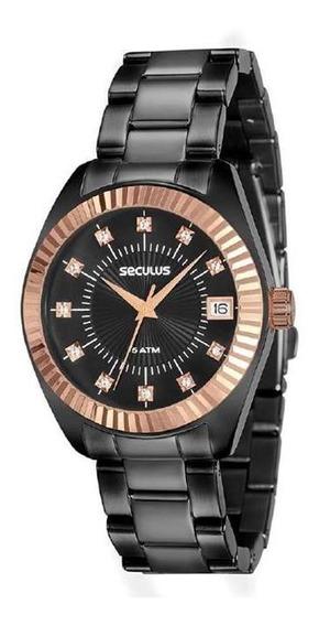 Relógio Seculus Feminino Ref: 13019lpsvis4 Fashion Black