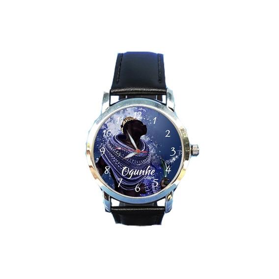 Relógio Ogum Unissex Espírita Espiritismo Orixá Couro Preto