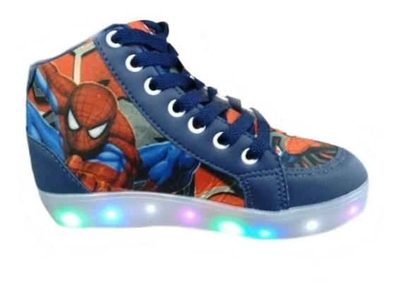Bota Sapato Luz Led Homem Aranha Infantil Masculino Promoção Tipo Coturno De Cadarço C Brinde