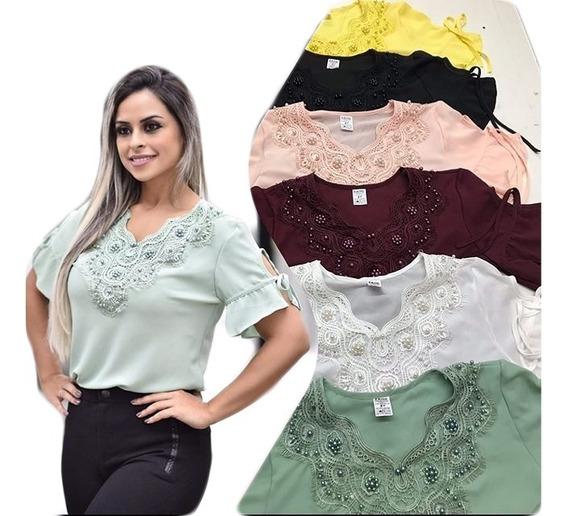 Kit 3 Blusas Femininas Social Moda Detalhe Perola E Renda