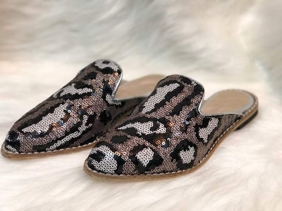 Mocasines Slippers Sin Talon Animal Print Lentejuelas Chatas