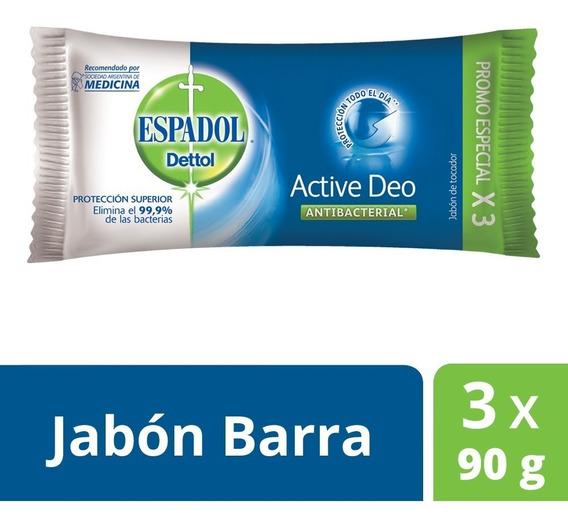 Espadol - Jabón Antibacterial Active Deo Pack 3 X 90 Grs