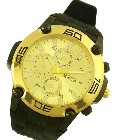 Relógio De Pulso Masculino Novana Pulseira Em Borracha B5721