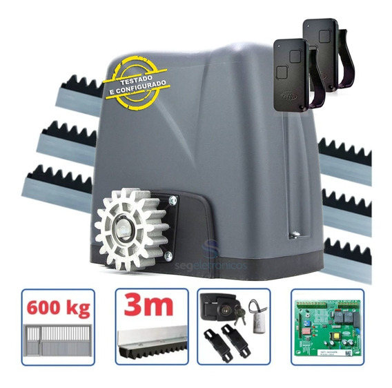 Kit Motor Portão Eletrônico Deslizante Nano 1/4 Rossi 600kg