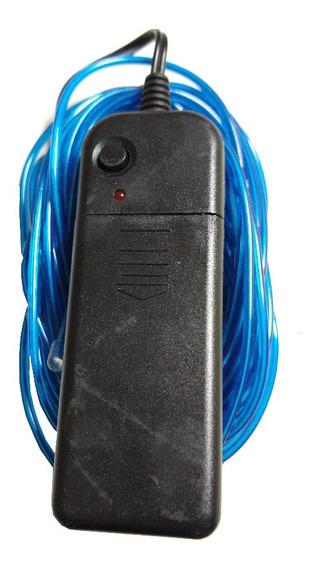 Hilo Led Luminoso Azul 5mts Con Portapilas