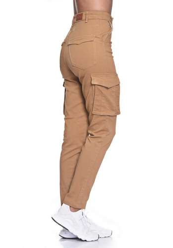 Pantalon Gabardina Cargo Elastizado Tiro Alto Chupin Mujer Mdcmoda